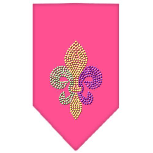 Mardi Gras Fleur De Lis Rhinestone Bandana Bright Pink Small