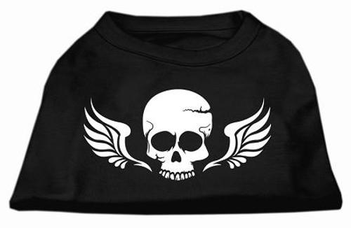 Skull Wings Screen Print Shirt Black Med (12)