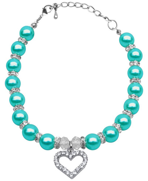 Heart And Pearl Necklace Aqua Md (8-10)