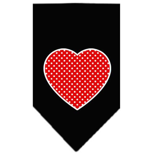 Red Swiss Dot Heart Screen Print Bandana Black Large