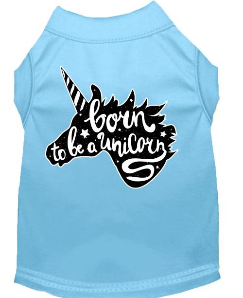 Born To Be A Unicorn Screen Print Dog Shirt Baby Blue Lg (14)