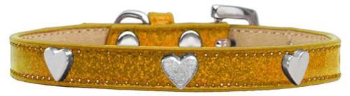 Silver Heart Widget Dog Collar Gold Ice Cream Size 14