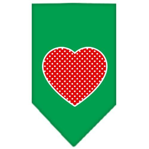 Red Swiss Dot Heart Screen Print Bandana Emerald Green Large