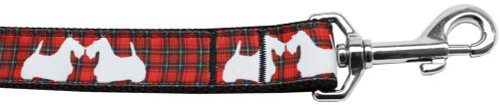Red Plaid Scottie Pups Nylon Dog Leash 4ft