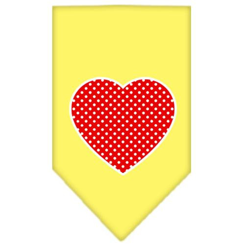 Red Swiss Dot Heart Screen Print Bandana Yellow Large