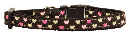 Argyle Hearts Nylon Ribbon Collar Brown X-small