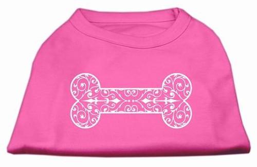 Henna Bone Screen Print Shirt Bright Pink Sm (10)