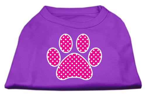 Pink Swiss Dot Paw Screen Print Shirt Purple Lg (14)
