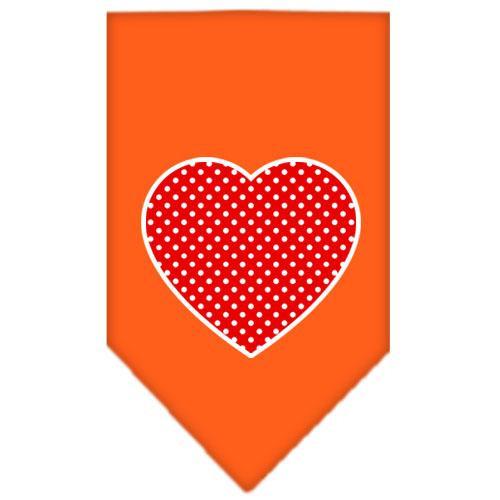 Red Swiss Dot Heart Screen Print Bandana Orange Large