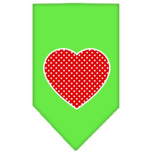 Red Swiss Dot Heart Screen Print Bandana Lime Green Large