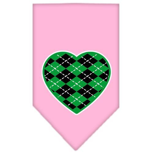 Argyle Heart Green Screen Print Bandana Light Pink Large