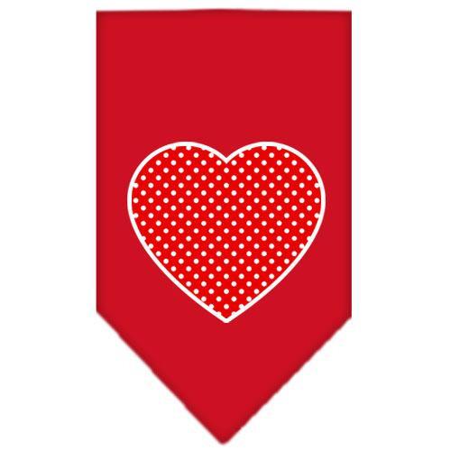 Red Swiss Dot Heart Screen Print Bandana Red Large