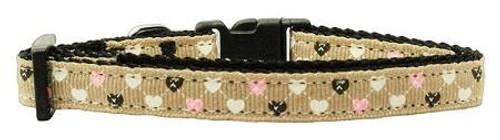 Argyle Hearts Nylon Ribbon Collar Tan X-small