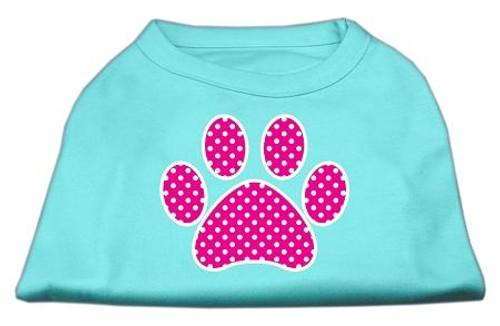 Pink Swiss Dot Paw Screen Print Shirt Aqua Lg (14)