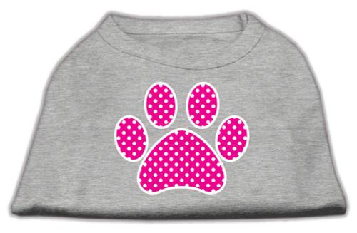 Pink Swiss Dot Paw Screen Print Shirt Grey Lg (14)