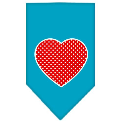 Red Swiss Dot Heart Screen Print Bandana Turquoise Large