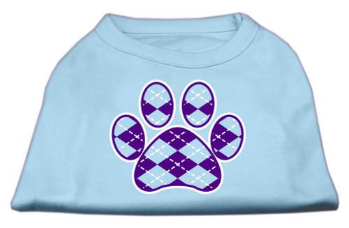 Argyle Paw Purple Screen Print Shirt Baby Blue Sm (10)