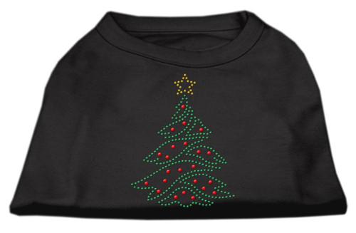 Christmas Tree Rhinestone Shirt Black S (10)