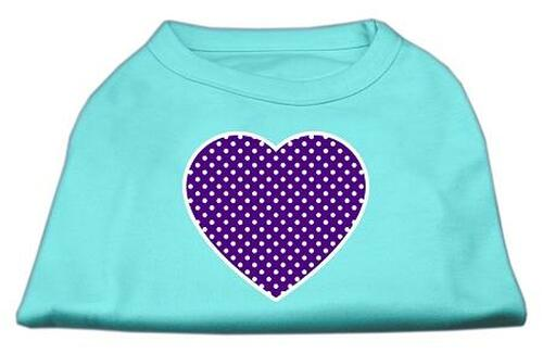 Purple Swiss Dot Heart Screen Print Shirt Aqua Xxxl (20)