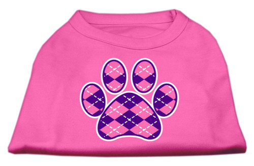 Argyle Paw Purple Screen Print Shirt Bright Pink Sm (10)