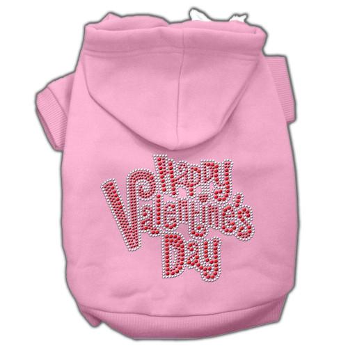 Happy Valentines Day Rhinestone Hoodies Pink Xs (8)