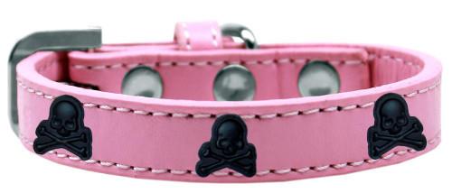 Skull Widget Dog Collar Light Pink Size 20