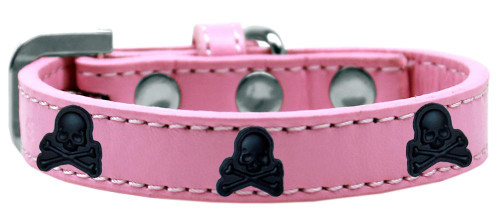 Skull Widget Dog Collar Light Pink Size 14