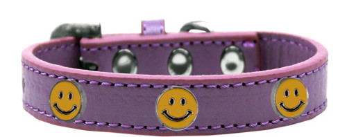 Happy Face Widget Dog Collar Lavender Size 18
