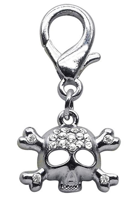 Lobster Claw Skull Charm  Clear - 11-06 CL