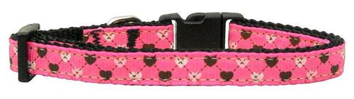 Argyle Hearts Nylon Ribbon Collar Bright Pink Small