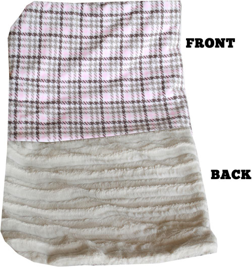 Luxurious Plush Carrier Blanket Pink Plaid