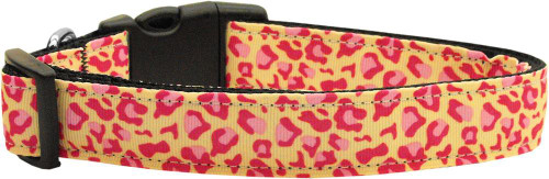 Tan And Pink Leopard Nylon Dog Collars Medium