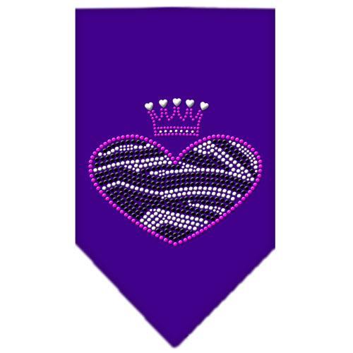 Zebra Heart Rhinestone Bandana Purple Large