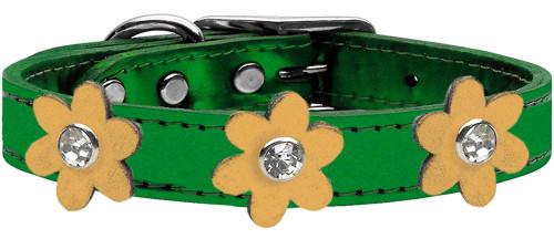 Metallic Flower Leather Collar Metallic Emerald Green With Gold Flowers Size 14
