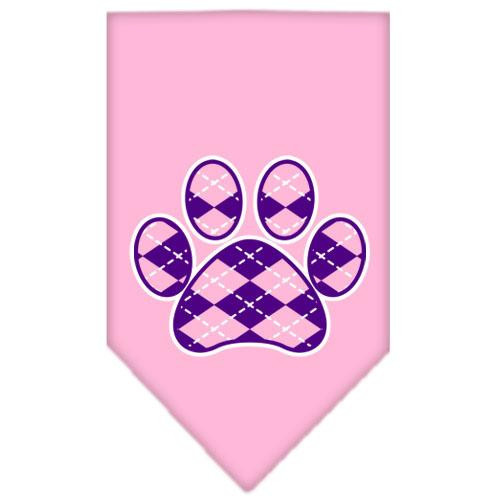 Argyle Paw Purple Screen Print Bandana Light Pink Small