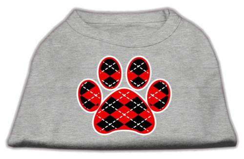 Argyle Paw Red Screen Print Shirt Grey Lg (14)