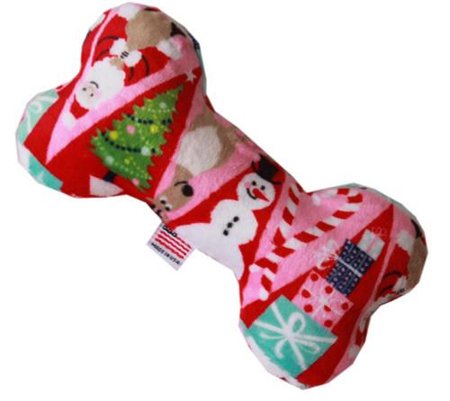 """6"""" Plush Bone Dog Toy Christmas Medley"""
