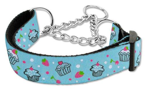 Cupcakes Nylon Ribbon Collar Martingale Large Baby Blue - 125-019M LGBBL