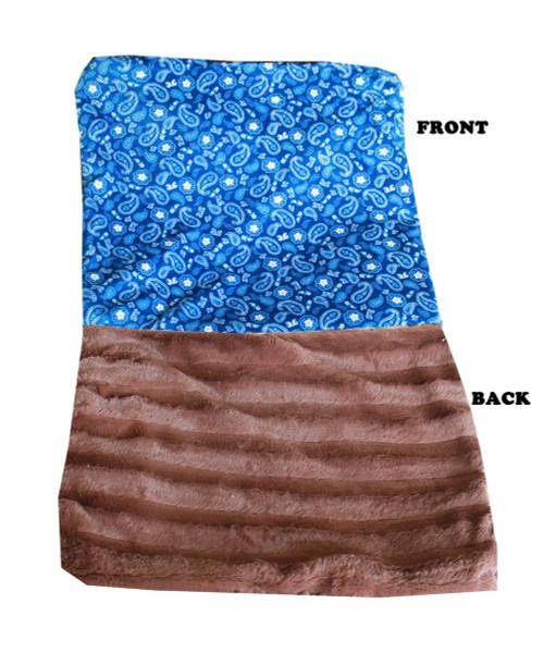 Luxurious Plush Itty Bitty Baby Blanket Blue Western
