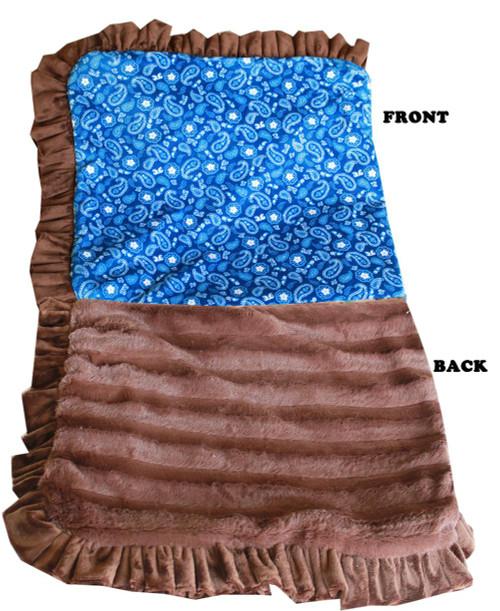Luxurious Plush Pet Blanket Blue Western 1/2 Size