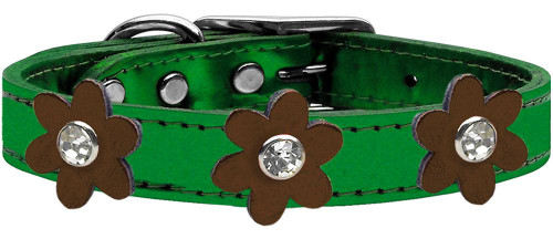 Metallic Flower Leather Collar Metallic Emerald Green With Bronze Flowers Size 16