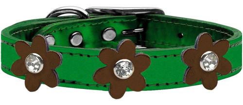 Metallic Flower Leather Collar Metallic Emerald Green With Bronze Flowers Size 14