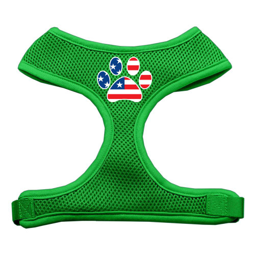 Paw Flag Usa Screen Print Soft Mesh Harness Emerald Green Large