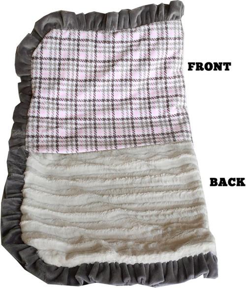 Luxurious Plush Pet Blanket Pink Plaid 1/2 Size