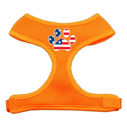 Paw Flag Usa Screen Print Soft Mesh Harness Orange Large
