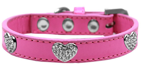 Crystal Heart Dog Collar Bright Pink Size 14