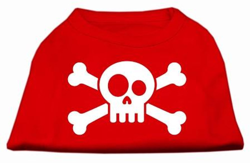 Skull Crossbone Screen Print Shirt Red Xs (8)