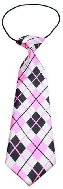 Big Dog Neck Tie Pink Argyle