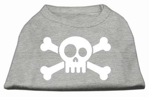 Skull Crossbone Screen Print Shirt Grey Xs (8)