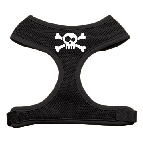 Skull Crossbones Screen Print Soft Mesh Harness Black Extra Large